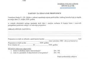 zahtjev za izdavanje propusnice